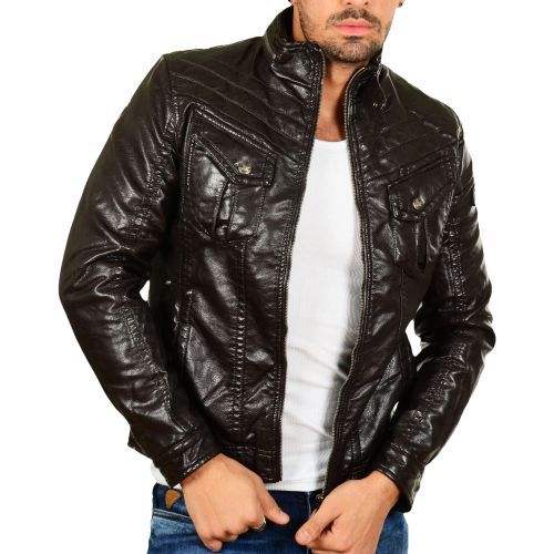Patria Mardini Faux Leather Jacket brown