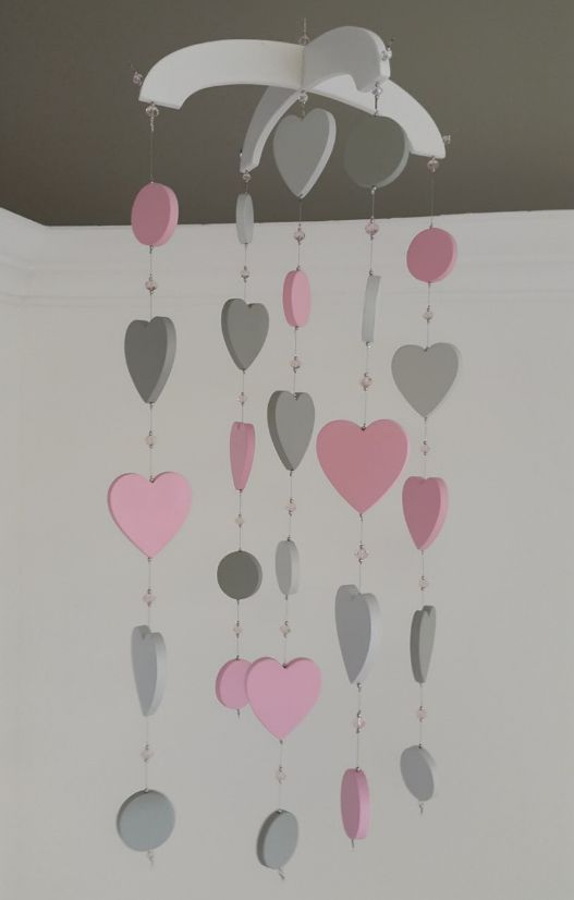 Our #HeartTheme #BabyMobile in #pink and #grey is perfect for any #BabyGirl's nursery!  #BabyBedding #BabyLinen