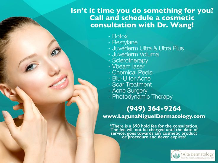 Call to get scheduled today!  www.lagunanigueldermatology.com  #cosmeticconsultation #cosmetic #aesthetics #botox #juvederm #restalyn #chemicalpeel #acne #scarring #vbeam #california #orangecounty #dermatology #lagunaniguel #altadermatology #dermatologist #laderaranch #alisoviejo #lagunahills #lagunawoods #missionviejo #danapoint #cotodecaza #southoc #skincare #beauty