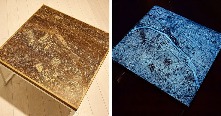 Engraved wood and resin tables designed with glow in the - Glow in the dark resin table ...