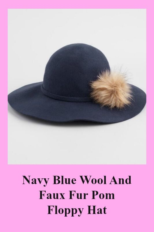 1155f06f8cea97 Navy Blue Wool And Faux Fur Pom Floppy Hat - Featuring a faux fur pom on  the crown, it expresses your fabulously distinctive style.