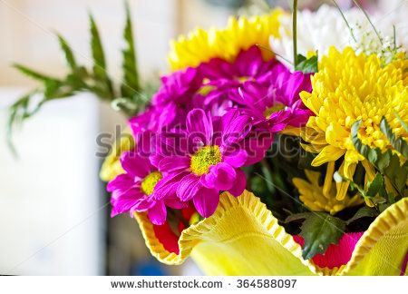 vivid flowers bouquet pink and yellow flowers arrange for decoration in home, selective focus