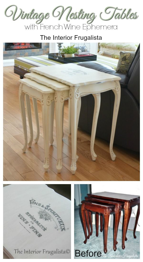 Vintage French Provincial Nesting Tables Before and After