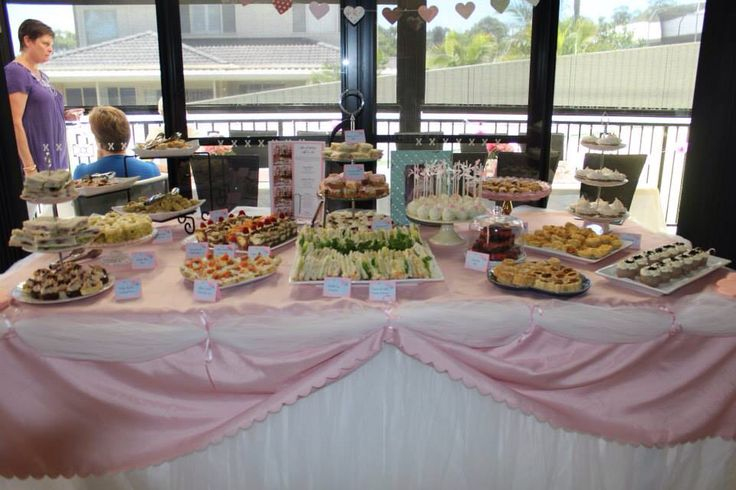 Bridal shower table laden with finger foods
