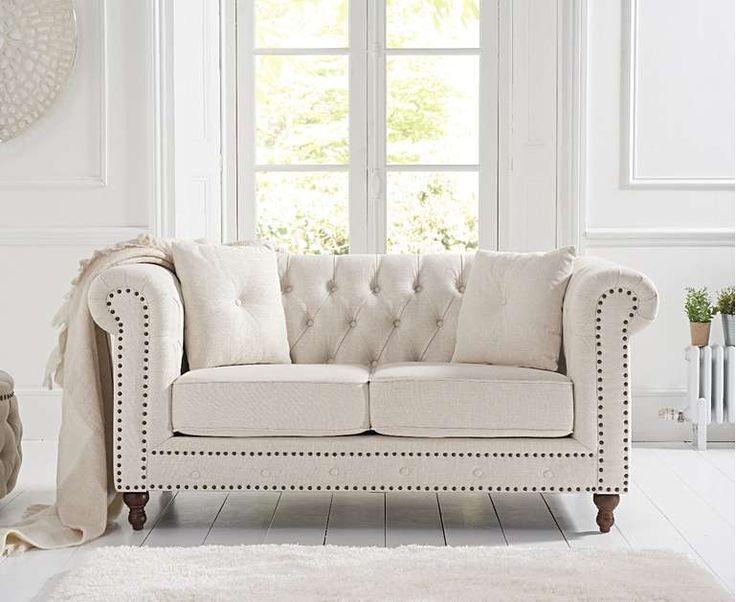 Milano Chesterfield Ivory Linen 2 Seater Sofa Linen Armchair Sofa Design Furniture