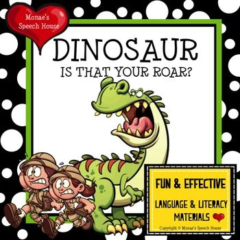 $4.5 This FUNNY interactive DINOSAUR book & activity packet  will give you and your students lots of opportunities to work on vocabulary, receptive and expressive language skills, imitating, following directions and TONS MORE!  From Monae's Speech House on TpT