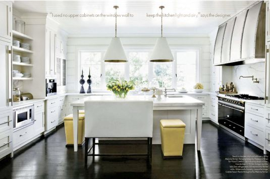 In this simple white kitchen, I love the pop of yellow here!