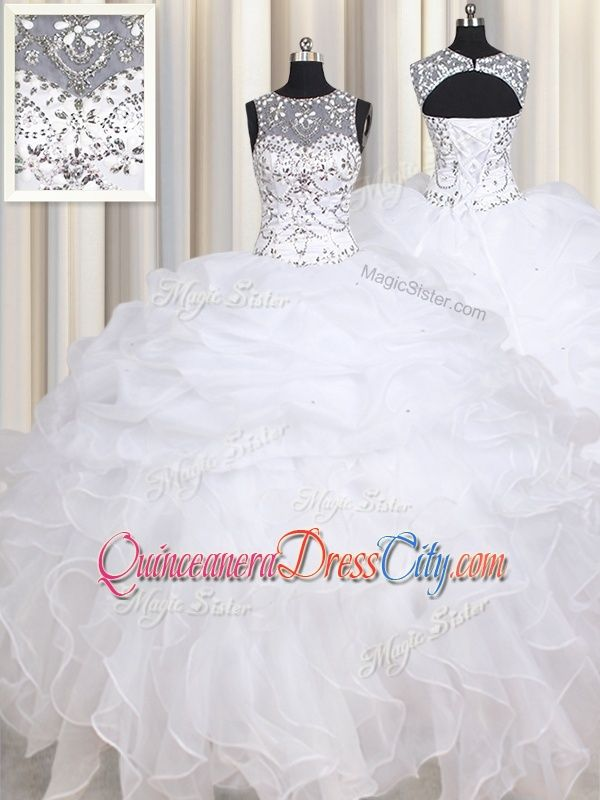 6697c4aecca White Ball Gowns Organza Straps Sleeveless Beading and Ruffles Floor ...
