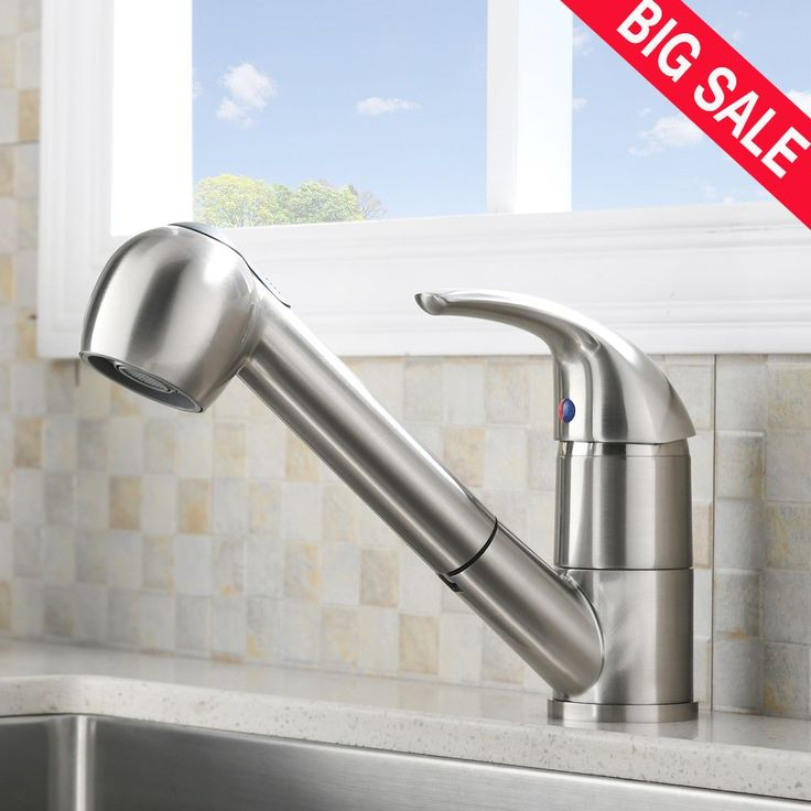 VESLA HOME Commercial Stainless Steel Single Handle Pull Down Sprayer Bar Kitchen Sink Faucet, Brushed Nickel Kitchen Faucets Without Deck Plate