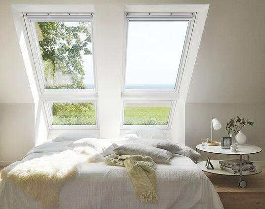 Takfönster parmontage kombi tak i sovrum