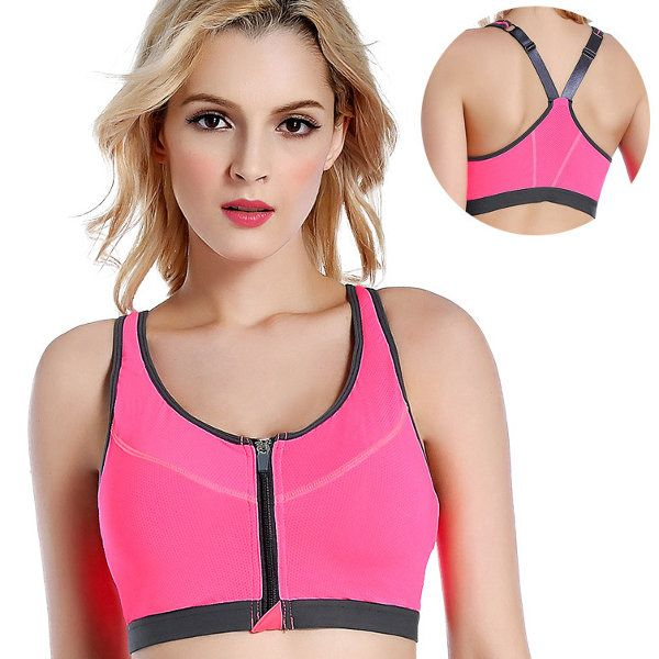Women Professional Shakeproof Wire Free Sports Bra Front Zipper Push Up Fitness Yoga Running Top at Banggood