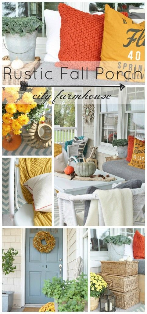 Rustic Fall Porch by City Farmhouse