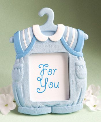 Baby Boy Picture Frame Favors - Mark your bouncing baby boy's arrival with these baby boy picture frame favors. Great to send to out of town relatives or to use as place card favors, our baby boy picture frame favors are made of blue and white poly resin in an adorable baby boy jumper. http://www.favorfavorbaby.com/p-8153.htm