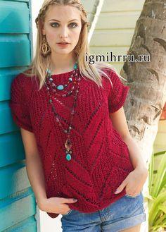 Красный летний топ с зигзагообразным ажурным узором. Вязание спицами