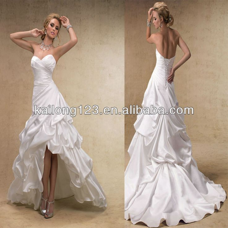High low wedding dresses line corset lace up back for Satin low back wedding dress