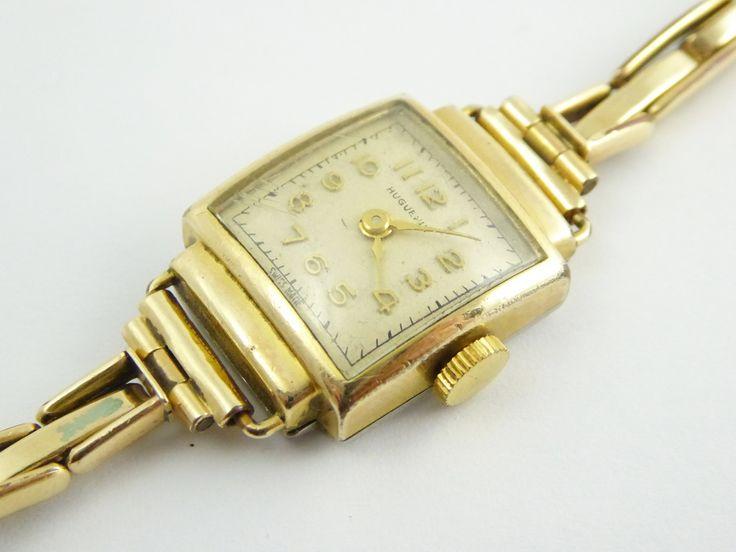 1940s Art Deco Ladies Gold Plated Swiss Huguenin Wrist Watch - The Collectors Bag