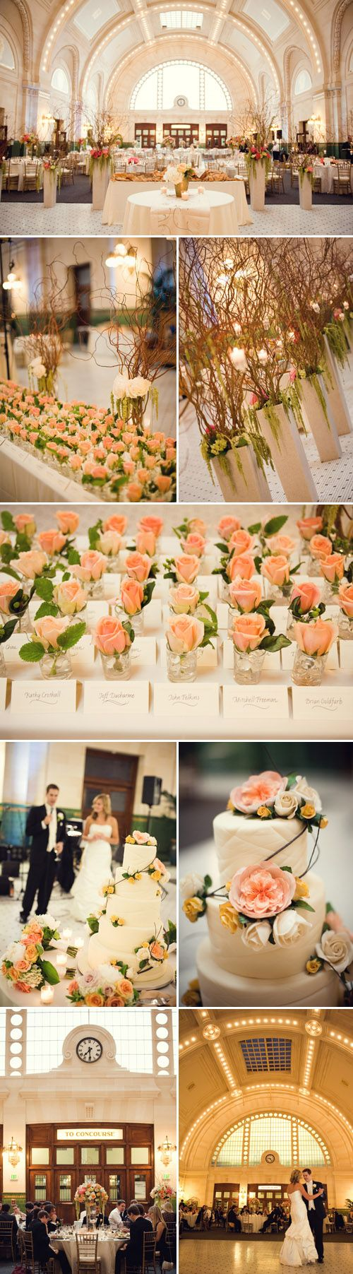 Peach details are perfect complements to the romantic wedding atmosphere, photography by Stephanie Cristalli