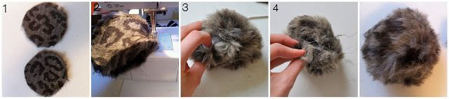 Fur Pom Poms Tutorial  (better for bigger pom poms) 1. cut two circles, these are 4 inches wide. 2. Pin and sew the two circles, right sides together, leaving an inch and a half of and opening. Flip right side out. 3. Stick stuffing or fur remnants into the opening till its nice and full. 4. Hand stitch the opening closed.