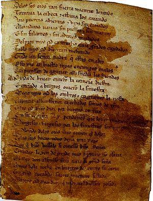 El Cantar de mio Cid: Es una canción recitada por los juglares de aquellos tiempos medievales. El texto que se conserva en la actualidad es una transcripción de un copista llamado Per Abbat en un manuscrito del siglo XIV, conservado en la Biblioteca Nacional.