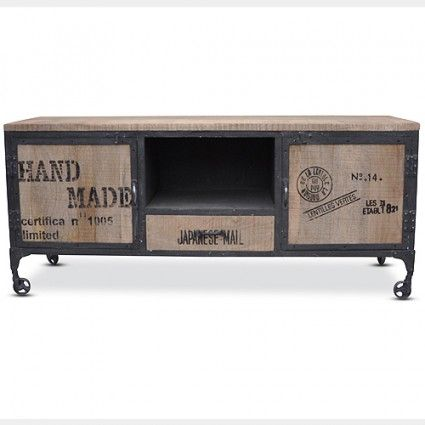 Vintage industrial tv unit in timber and iron. Loft. $950 160x45x70