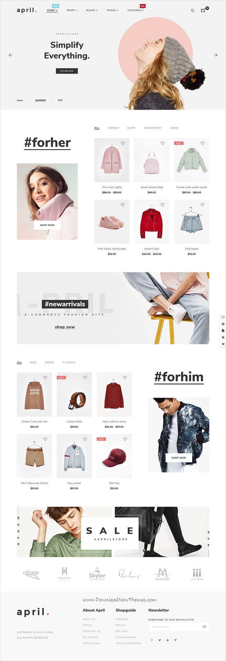 APRIL - Fashion WooCommerce WordPress Theme | Website design inspiration, Web design, Design website