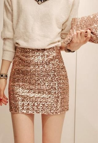 Gold Sequin Mini Skirt & off white sweater