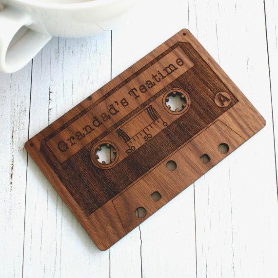 Cassette Tape Coaster  Retro Drinks Coaster by woodpaperscissorsuk