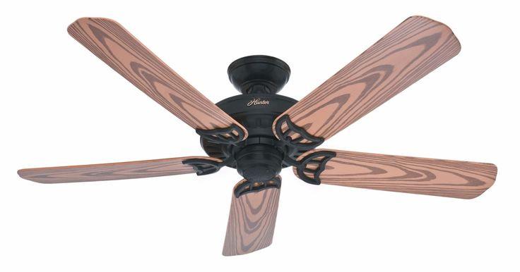 """Hunter Bridgeport 52"""" Energy Star Rated Indoor / Outdoor Ceiling Fan - 5 Blades Textured Black Fans Ceiling Fans Outdoor Ceiling Fans"""