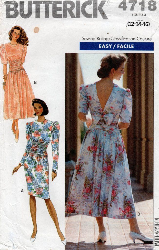 Butterick 4718 Womens V Back Puff Sleeved Evening Dress 1990s Vintage Sewing Pattern Size 12 16 Uncut Factory Folds In 2020 Evening Dresses With Sleeves Vintage Clothes Patterns Sewing Pattern Sizes