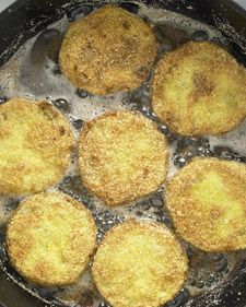 Fried Green Tomatoes-- Mother Nature may think that sending a rainstorm to break my tomato plant in half will keep me from enjoying the fruits of my labor, but she is wrong!