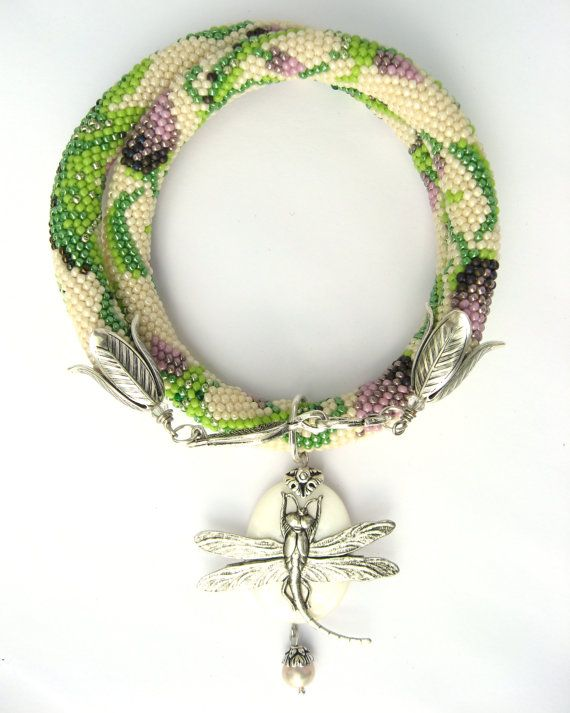 Bead Crochet Necklace  Victorian garden    Free by LeeMarina, €80.00  lovely color and design!: Crochet Necklace