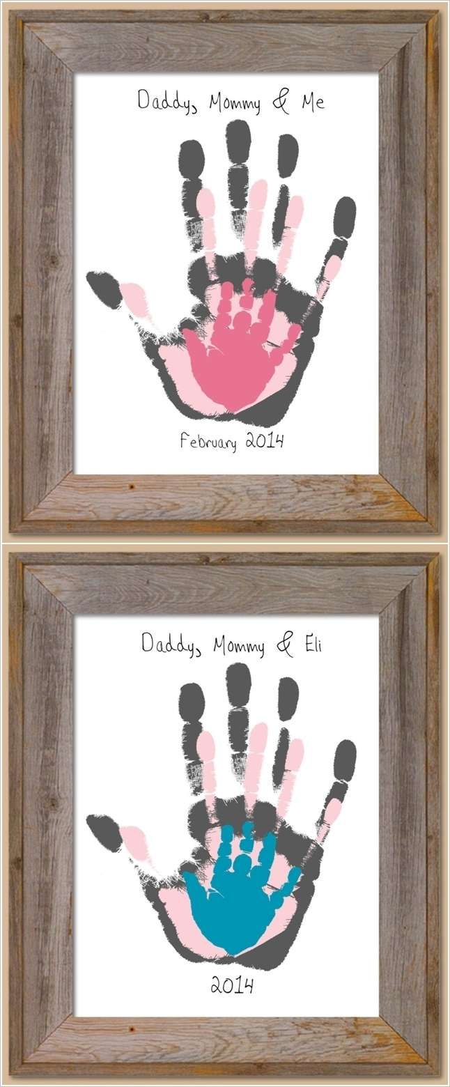 This handprint project is as easy as pie yet the results are priceless. To make this art you have to stamp your, your spouse's and child's hand one by one with paints of different colors and voila!