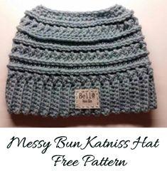 Free Messy Bun Katniss Pattern by Bella Haken & Zoo   Katniss crochet messy bun Katniss crochet pattern- katniss crochet hat