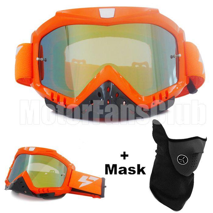 Orange Motorcycle Motocross Helmet Goggles Eyewear Colorful Glasses With Mask