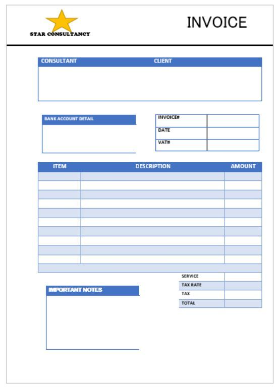 Star Consulting invoice Template Consulting Invoice Template