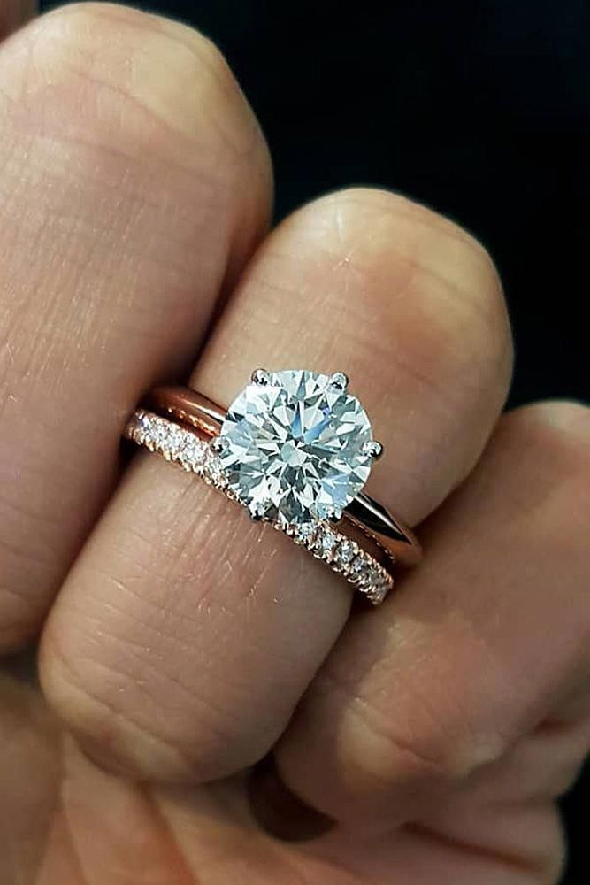 rose gold wedding rings simple classic round cut diamond… could do with 4 pron…