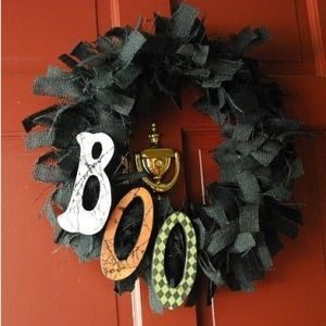 Cute for Halloween.. Black burlap rag wreath with wooden painted/scrap booked letters!