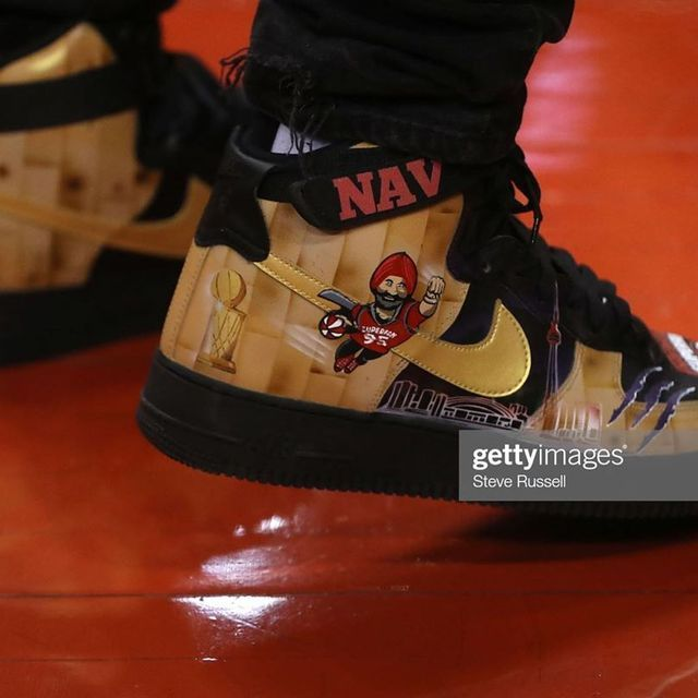 If you know the @raptors then you definitely know their SUPERFAN @navbhatiasuperfan who has been to every home game since they joined the league supporting them no matter what. Last night on @nbaontnt ,for opening night as defending champs we needed to create a special pair for him to wear court side and to get HIS ring. Flipped the NBA logo to be Raptors colors red and purple and added the trophy and of course added some golden wood planks that every championship team deserves. Make sure to kee