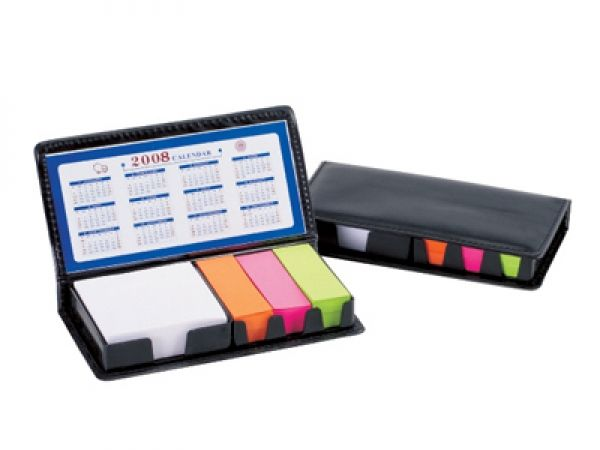 Post-it & memo pad set in calendar case holder Post-it & memo pad set in calendar case holder.  This quirky and useful coporate gift is  perfect for the office and it is  guaranteed a place on the desk