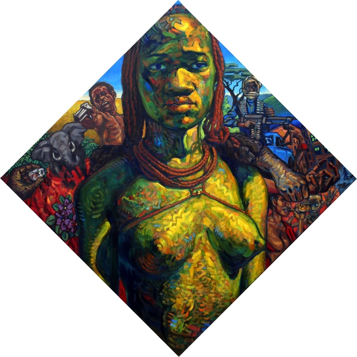 "AFRICA Oils on canvas 6'7"" diagonal by Paul Herman"