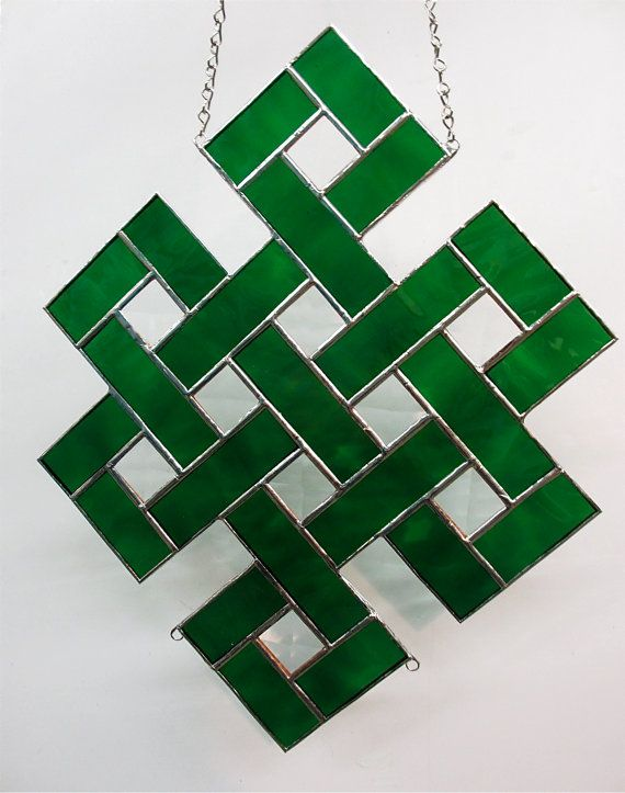 Celtic Squares Forest Green with Bevels in each by SherriStudio