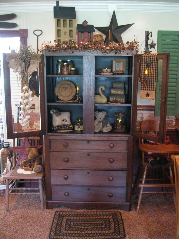17 best images about prim hutch mantel shelves for Hutch decor