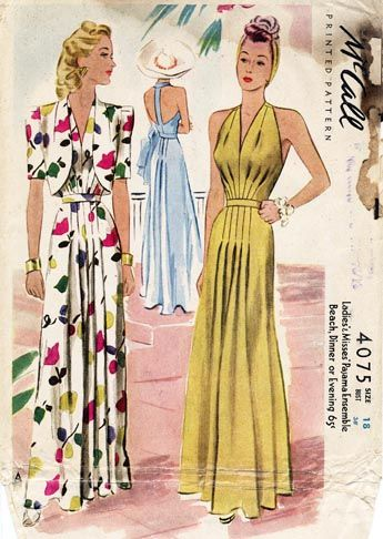 McCall 4075 pajamas for beach, dinner, or evening