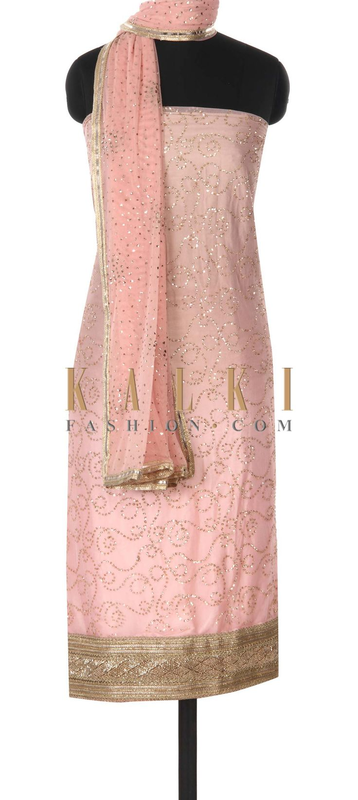Buy this Pink shaded unstitched suit adorn in sequin only on Kalki