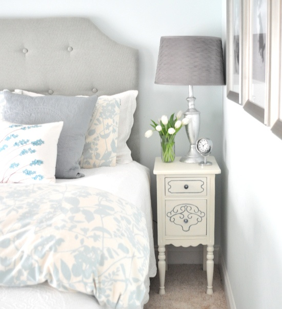 In my oldest daughter's room, the wall color is 'Blue Green Gem' by Kelly Moore – a watery pale shade of Tiffany blue