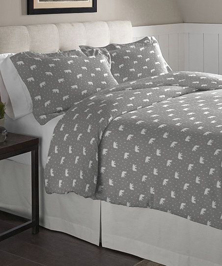 Pointehaven Bedding Polar Bear Flannel Duvet Cover Set | zulily