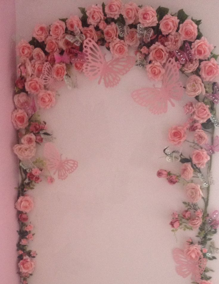 Little girls bedroom rose butterfly arch shabby chic - Little girls shabby chic bedroom ...