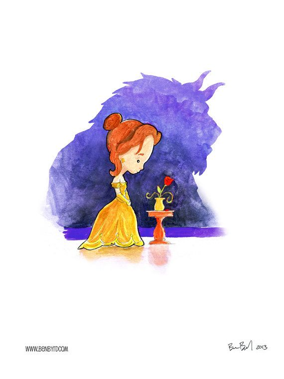 Beauty and the Beast Watercolor by BenByrdArtwork on Etsy, $9.99