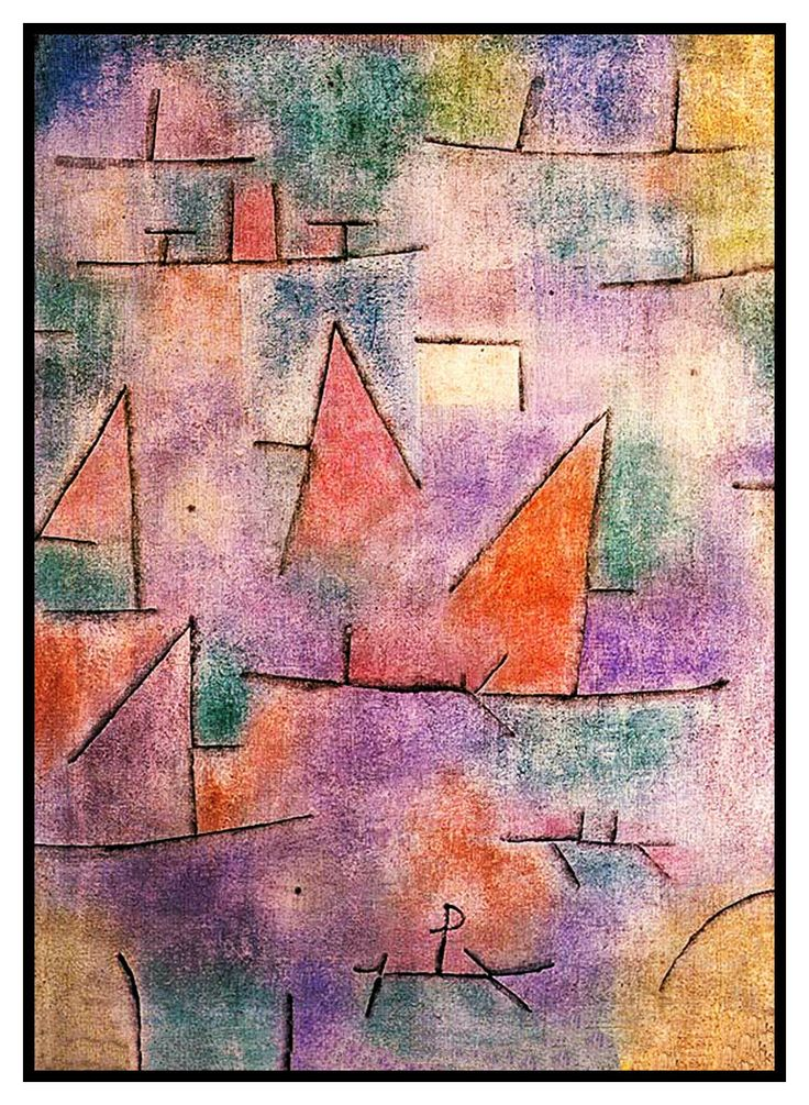 Harbor with Sailing Ships by Expressionist Artist Paul Klee Counted Cross Stitch or Counted Needlepoint Pattern