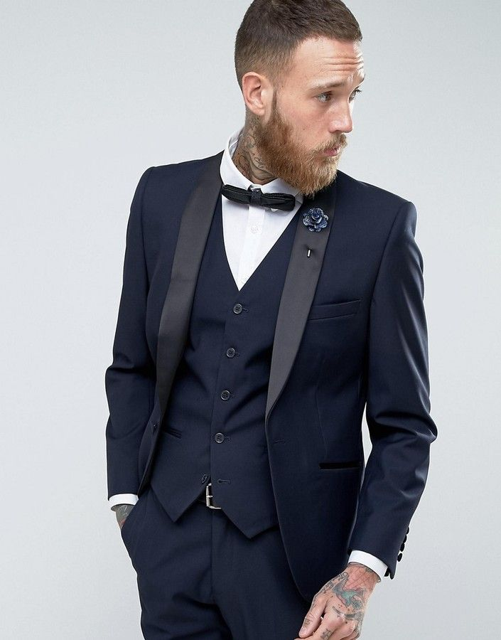French Connection Slim Fit Navy Shawl Collar Tuxedo Jacket